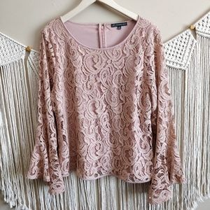 Adrianna Papell Blush Lace Bell Sleeve Blouse XL